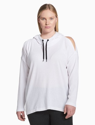 Calvin Klein plus size performance open shoulder hoodie
