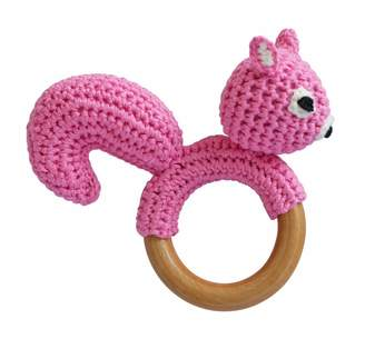 Sindibaba Hand Crocheted Squirrel Rattle on Wooden Ring (Small Light Blue)