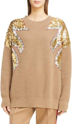 N°21 N21 N?21 Sequin Shoulder Wool Sweater