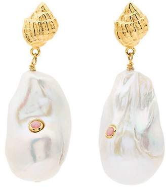 Free Shipping At Farfetch Anni Lu White And Pink Baroque Pearl Drop Earrings