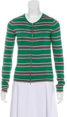 Dries Van Noten Striped Zip-Up Cardigan Green Striped Zip-Up Cardigan