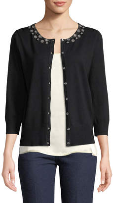 Neiman Marcus Beaded Button-Front Shrug Cardigan