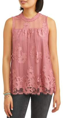 Paper Tee Juniors' All Over Lace Swing Peasant Tank