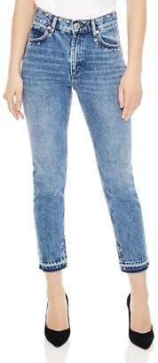 Sandro Mood Frayed Hem Grommeted Jeans
