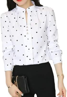 6bfd72164ae26 BU2HWomen BU2H Women s Summer Long Sleeve Blouses Polka Dots Chiffon Shirt  Tops ...