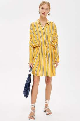 Topshop Stripe Drawstring Shirt Dress