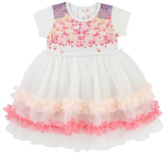 Billieblush Short-Sleeve Jersey & Tulle Dress, Size 6-18 Months