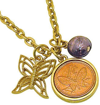 American Coin Treasures Goldtone Butterfly Coin and Charm Pendant
