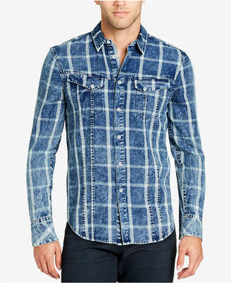 William Rast Men's Denim Grid-Pattern Shirt