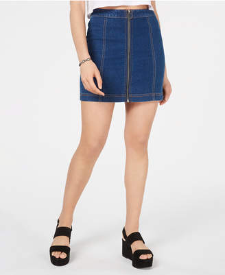 Tinseltown Juniors' Zip-Front Denim Mini Skirt