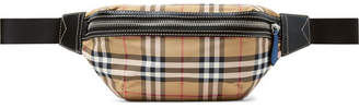 Burberry Leather-Trimmed Checked Nylon Belt Bag