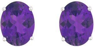 8x6mm Oval Semi-Precious Gemstone Stud Earrings, 14K White