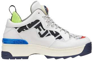 Fendi multicolour Zucca panel platform sneakers
