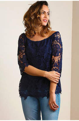 Asstd National Brand Plus Off Shoulder Crochet Blouse