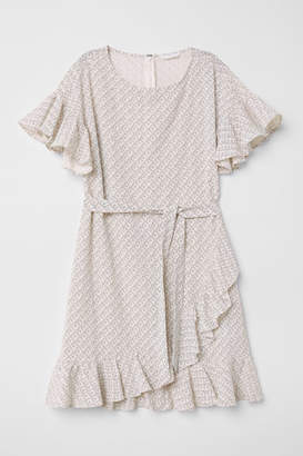 H&M Patterned Flounced Dress - Beige