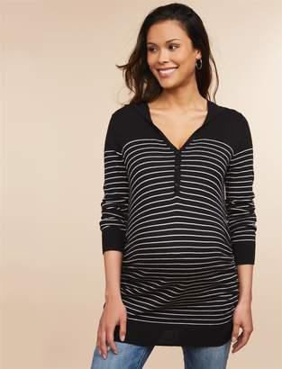 Motherhood Maternity Striped Hooded Maternity Sweater