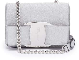 COM Salvatore Ferragamo Vara mini glitter-covered leather cross-body bag 8c1f3c1dbe