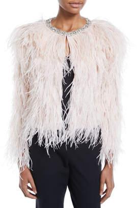 Swarovski Carolyn Rowan Ostrich Feather Jacket with Crystals