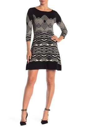 Gabby Skye Spiral Elbow Sleeve Fit 'N' Flare Sweater Dress