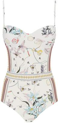 Tory Burch Poetry Print Padded Swimsuit