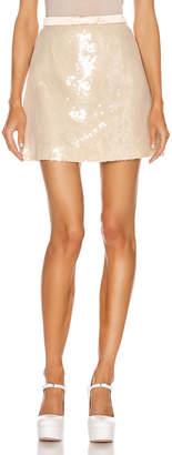 Miu Miu Sequin Mini Skirt in White   FWRD