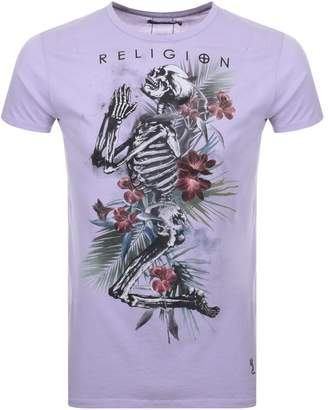 Tropic Skeleton logo T Shirt Lilac