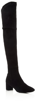 Delman Cindi Stretch Suede Over The Knee Mid Heel Boots $648 thestylecure.com