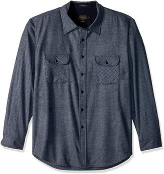 Pendleton Men's Long Sleeve Button Front Fitted Marverick Merino Shirt Shirt, -Navy/Grey Mix Faux Solid, SM