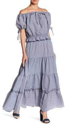 CQ by CQ Ruffle Tiered Gingham Printed Maxi Skirt