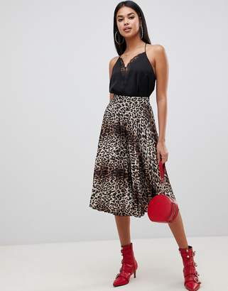 Lipsy pleated midi skirt in animal print