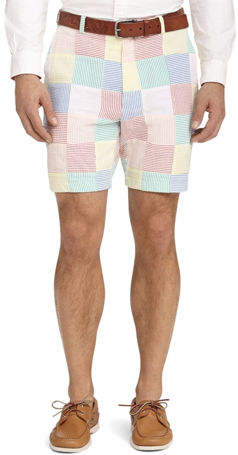 Brooks Brothers Plain-Front Patchwork Seersucker Shorts