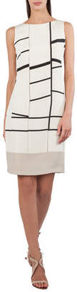 Akris Sleeveless Broken-Stripes Stretch-Crepe Dress