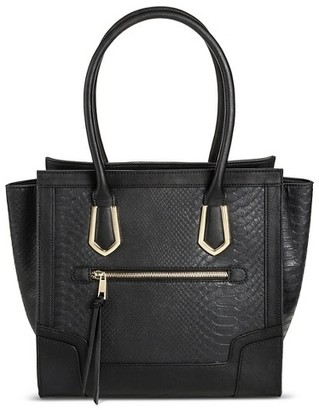 Mossimo Women's Tote Faux Leather Handbag with Snakeskin Design and Zip Closure Black - Mossimo $39.99 thestylecure.com