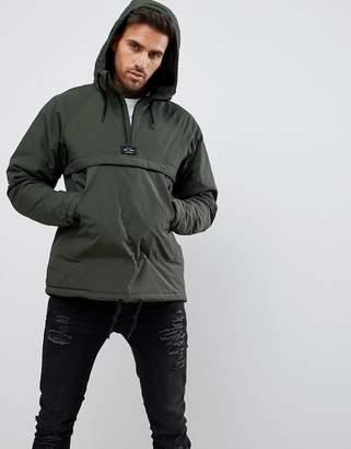 Pull&Bear Jacket With Half Zip In Khaki