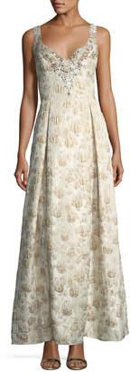 Aidan Mattox Sweetheart Sleeveless Jacquard Beaded Evening Gown