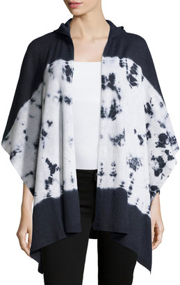 Minnie Rose Cashmere Colorblocked Hooded Cape, Black Tie-Dye $204 thestylecure.com