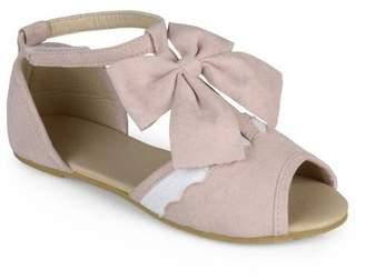 Generic Brinley Kids Little Girl Scalloped T-strap Peep Toe Dress Flats