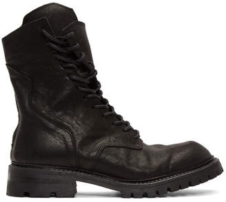 Julius Black Twisted Military Lace-Up Boots