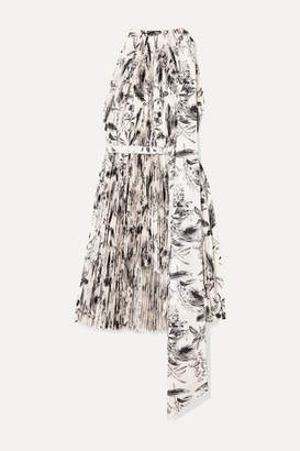 A.W.A.K.E. Mode Doric Asymmetric Pleated Printed Faille Dress - White