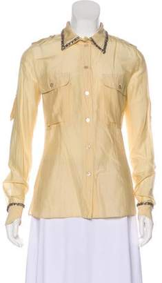 Blumarine Embellished Button-Up Top w/ Tags