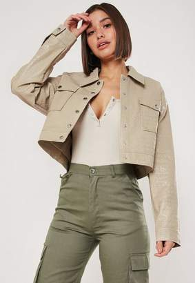 Missguided Cream Faux Croc Cropped Jacket