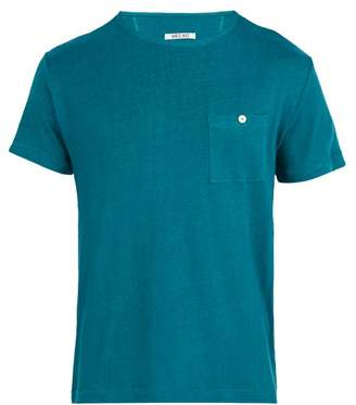 Hecho - Short Sleeved Linen T Shirt - Mens - Blue