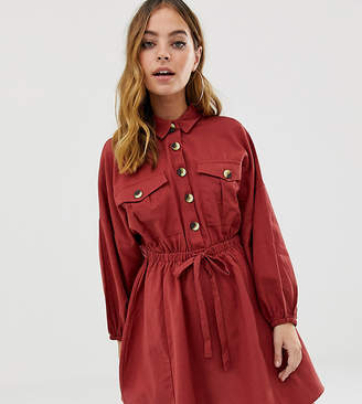 Asos DESIGN Petite mini casual shirt dress with drawstring waist