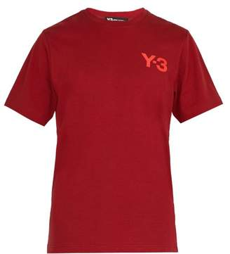 Y-3 Y 3 Logo Print Cotton T Shirt - Mens - Red