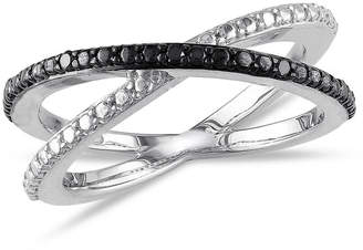 Black Diamond FINE JEWELRY Midnight Black Womens 2mm Diamond Accent Genuine Sterling Silver Round Crossover Ring