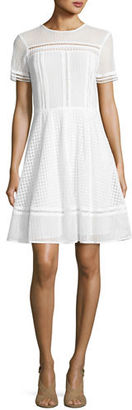 MICHAEL Michael Kors Short-Sleeve Mixed-Eyelet A-Line Dress $255 thestylecure.com