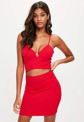 Missguided Red Strappy Cut Out Waist Dress, Red