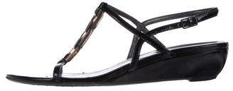Stuart Weitzman Patent Leather T-Strap Sandals