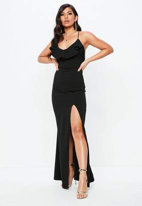 Missguided Tall Black Frill Detail Plunge Neck Maxi Dress