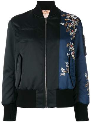 No.21 flower embroidery bomber jacket